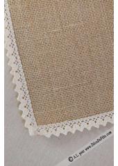 1 napperon carré 50cm jute et dentelle