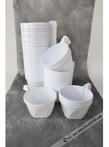 50 tasses à café plastique blanc