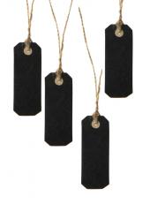 12 étiquettes marque-place rectangle carton noir