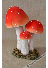 3 champignons amanites rouges 24cm