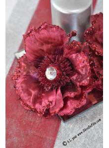 1 Rose de Nöel diamant bordeaux