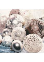 20 Serviettes Boules de Noel Retro