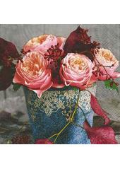20 Serviettes Rose vintage