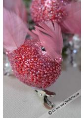 2 oiseaux PERLES rose