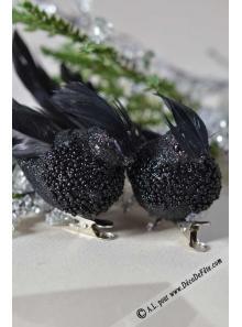 2 oiseaux PERLES noir
