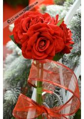 3 Rose JULIETTE velours rouge