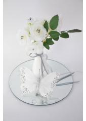 2 papillons plume blanc 12cm