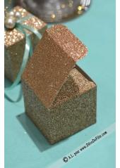 8 boites carrées cuivre clair pailleté