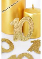 6 confettis chiffre 10 or