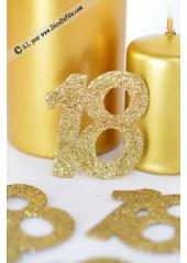 6 confettis chiffre 18 or