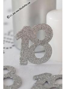 6 confettis chiffre 18 argent