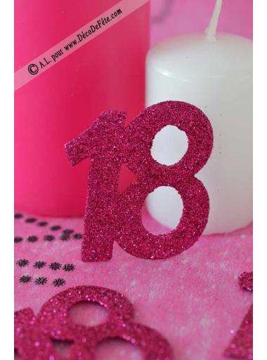 6 confettis chiffre 18 fushia