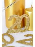 6 confettis chiffre 20 or