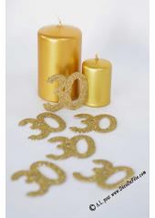 6 confettis chiffre 30 or