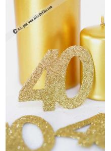 6 confettis chiffre 40 or