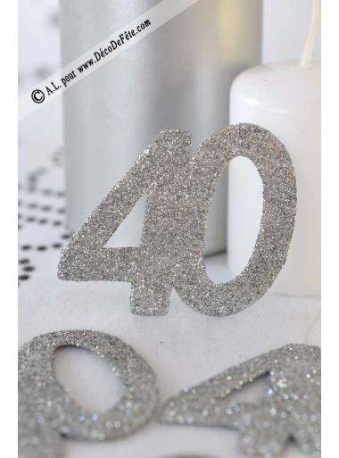 6 confettis chiffre 40 argent