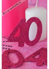 6 confettis chiffre 40 fushia