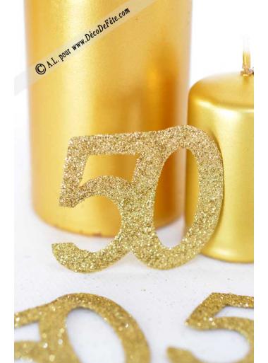 6 confettis chiffre 50 or