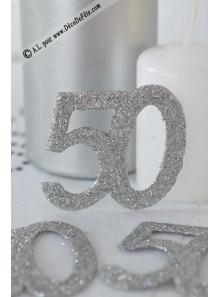 6 confettis chiffre 50 argent