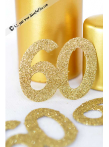 6 confettis chiffre 60 or
