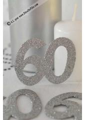 6 confettis chiffre 60 argent