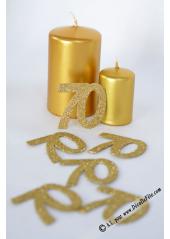 6 confettis chiffre 70 or