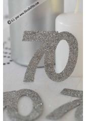 6 confettis chiffre 70 argent