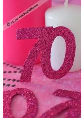 6 confettis chiffre 70 fushia