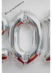 1 ballon fun CHIFFRE 0 ARGENT