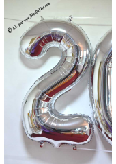 1 ballon fun CHIFFRE 2 ARGENT