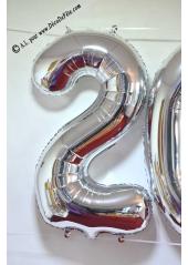 1 ballon fun CHIFFRE 5 ARGENT