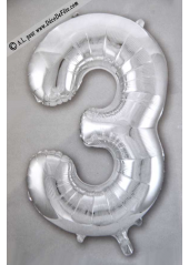 1 ballon fun CHIFFRE 3 ARGENT