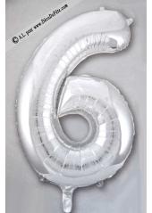 1 ballon fun CHIFFRE 6 ARGENT