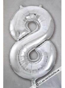 1 ballon CHIFFRE 8 ARGENT