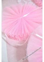 1 guirlande de 5 pompons de tulles rose