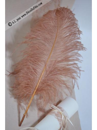 1 Grande plume d'autruche CARAMEL