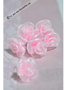 6 Fleurs organza roses