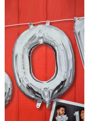 1 ballon fun LETTRE O ARGENT