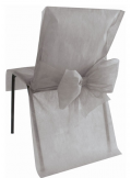 10 Housses de chaise gris avec noeud