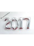 1 ballon hélium CHIFFRE 0 ARGENT