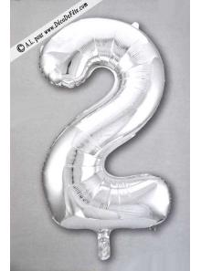 1 ballon CHIFFRE 2 ARGENT