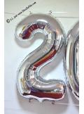 1 ballon CHIFFRE 6 ARGENT