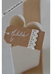 10 étiquettes kraft et dentelle coton ivoire