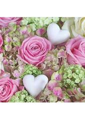 20 Serviettes Coeurs & Roses tendres