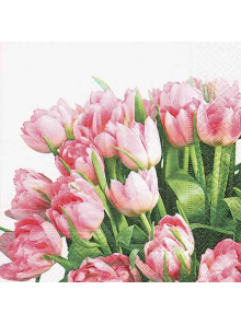 20 Serviettes Tulipes Roses