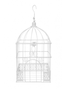 1 cage à oiseaux carrée métal BLANC
