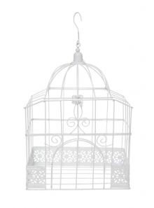 1 cage à oiseaux rectangle métal BLANC
