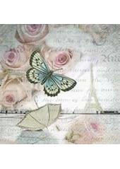 20 Serviettes romance papillon à Paris