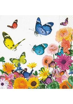 20 Serviettes cocktail envolée de papillons