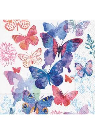20 Serviettes symphonie de papillons